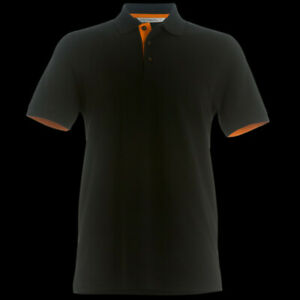 Para-hombres-Calce-Ajustado-Camisa-Polo-Negro-Naranja-KK619-Kustom-Kit-S-M-L-XXL-Nuevo