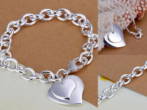 7a804747462a Das Bild wird geladen Doppelherz-SCHMUCKSET-Halskette-Armband-925-Sterling- Silber-plattiert-
