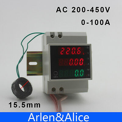 Din rail voltmeter ammeter  power Energy meter voltage current 200-450V With CT