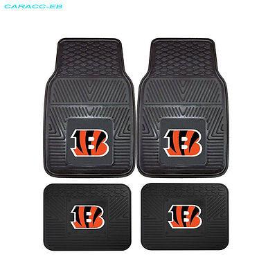New 4pcs NFL Cincinnati Bengals Car Truck Front Rear Carpet Floor Mats Set