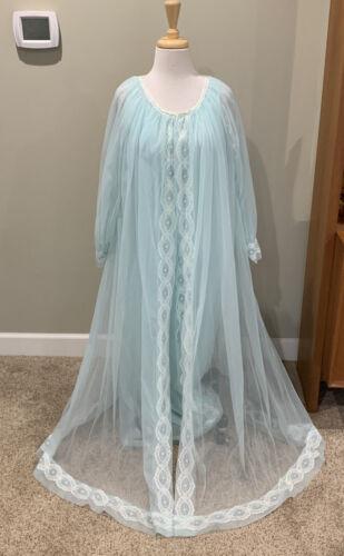 Vintage Women's Miss Elaine Nightgown, Robe Set bl