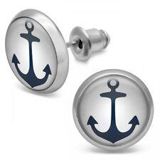 1 Paar Ohrstecker Ohrringe Anker Motiv maritim weiß blau rot gold Rockabilly