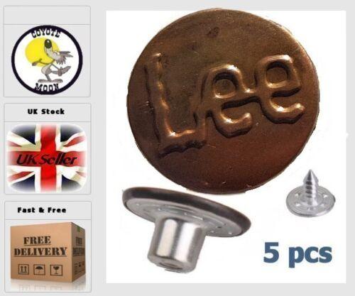 No Sew Marteau sur JEAN boutons X 5 Cuivre UK env. 17 mm