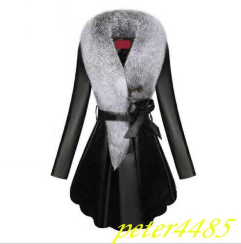 Faux Faux Collar Faux Leather Blest Womens Warm Jacket Long Slim Fit Coat