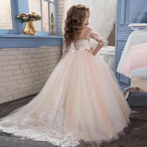 Flores hijo princesa niños vestido de fiesta pelota boda chica comunión bc639
