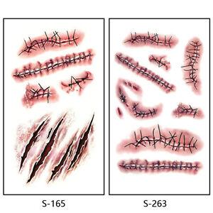 Scar temporary tattoo halloween sticker fake wound cut for Fake wound tattoos