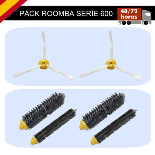PACK 6 EN 1 iROBOT ROOMBA 650 2 CEPILLOS SERIE 600 4 RODILLOS CENTRALES