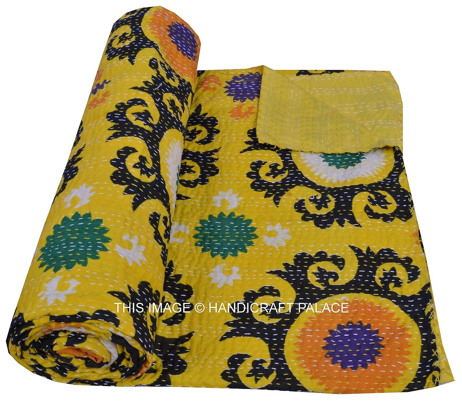Indian Cotton Queen Kantha Quilt Suzani Printed Gelb Bedspread Blanket Decor