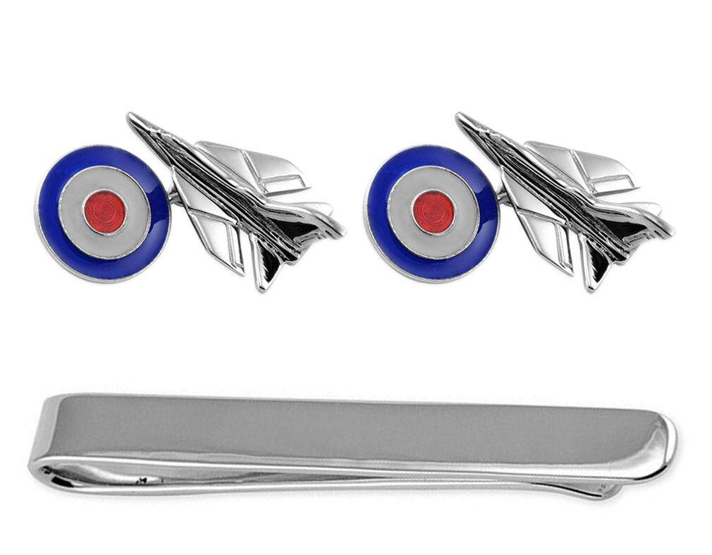 argentoo Sterling Fighter Jet Jet Jet CON RAF COCCARDA Gemelli Fermacravatta Box Set 31245e