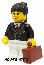 LEGO CITY AIRPORT Hostess Pilota con Custodia Marrone pupazzetto nuovo