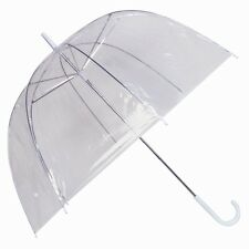 LARGE UNISEX CLEAR DOME SEE THROUGH UMBRELLA HANDLE TRANSPARENT WALKING BROLLY