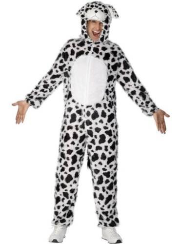 Homme Femme Adulte Dalmatien Déguisement Chien Combinaison Noir Blanc Costume