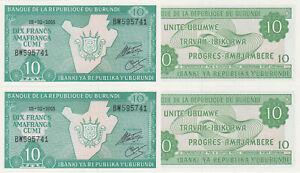 Burundi-10-Francs-05-02-2005-p33e-x-2-Pieces-UNC