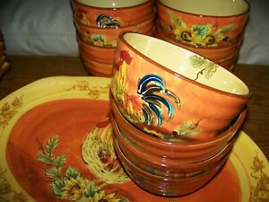 6-pc-5-3-4-034-Maxcera-China-ORANGE-ROOSTER-BOWLS-French-Country-UNUSED-Av-2