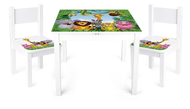 Yeti  Table et 2 chaises enfant motif JUNGLE Leomark- 102 244159B