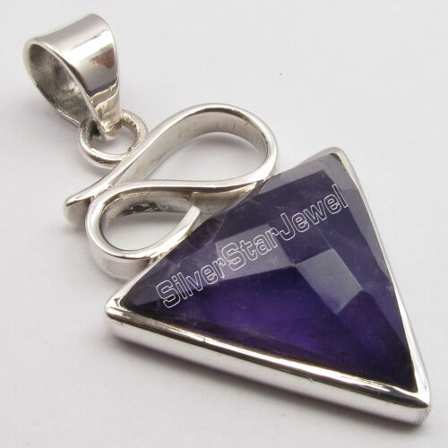 """925 Sterling Silver Amethyst Pendant for Necklace 1.5/"""" Handcrafted Art Jewelry"""