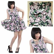 Hearts & Roses London Simply Fabulous Size 12 14 Pink Blue Floral Be 50's DRESS