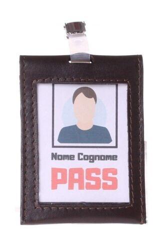 porta badge ufficio nero/blu in vera pelle nuovo porta tesserino idea regalo