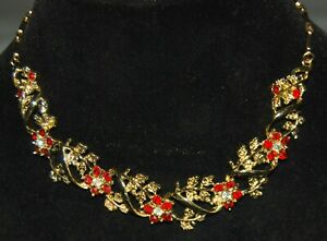 Vintage-Ornate-Red-Clear-Flower-Rhinestone-Floral-Link-Chain-Necklace-15-034-Choker