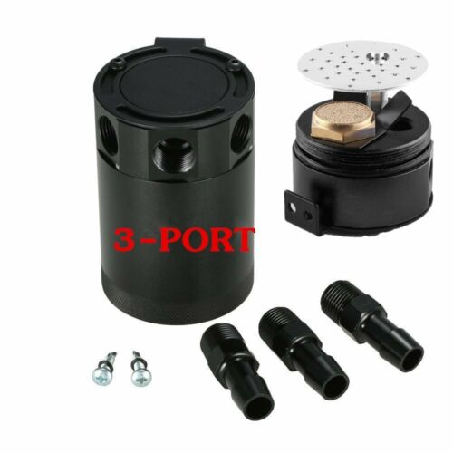 Racing Baffled 3-Port Oil Catch Can Tank Reservoir Air-Oil Separator Universa l3