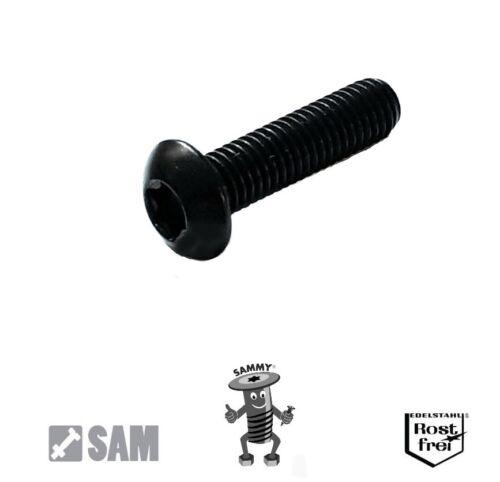 25 Stück Linsenkopfschrauben mit TORX ISO 7380 M1,6X5 V2A SCHWARZ