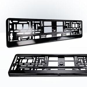 2x-Kennzeichenhalter-SCHWARZ-Metallic-Nummernschildhalter-Hochglanz