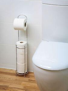 4 Roll Free Standing Toilet Paper Tissue Chrome Dispenser Storage Holder Stand 5060411748699