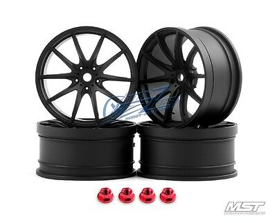 MST Flat black G25 RC 1/10 Drift Car Wheels offset 3 (4 PCS) 102051FBK New