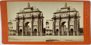 Brogi, Stéréo, Italie, Firenze, arco di Gallo Vintage stereo card,  Tirage alb