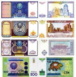 UZBEKISTAN-Lot-Lotto-4-banconote-25-50-100-200-Sum-FDS-UNC