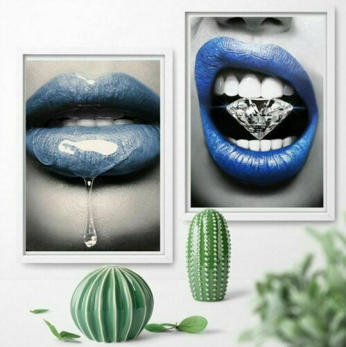Woman Blue Lips Wall Art Poster Modern Nordic Canvas Painting Prints Pictures