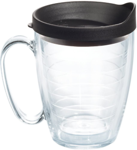 Tervis 1099599 Clear  Colorful Mug Insulated Tumbler with Black Lid, 16 oz Trit