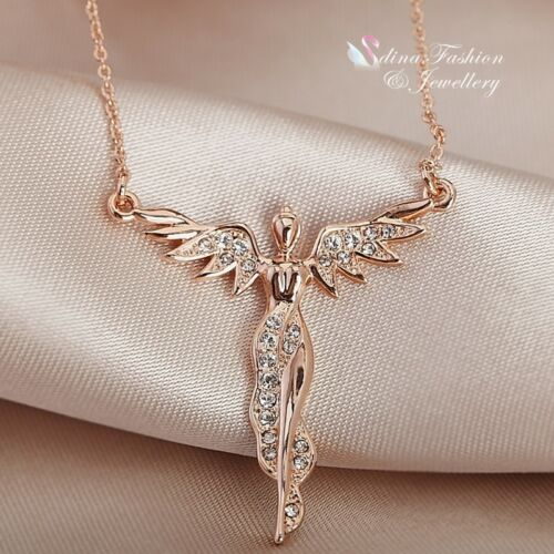 18K Rose Gold Filled Simulated Diamond Beautiful Angel Statement Necklace