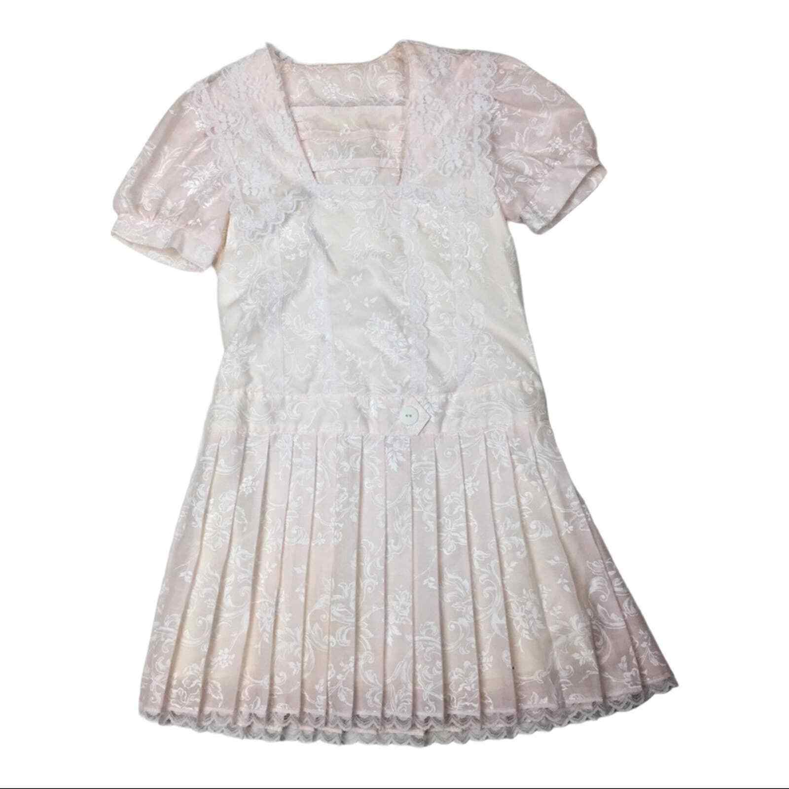 Vintage Gunne Sax lace and floral pleated skirt g… - image 1