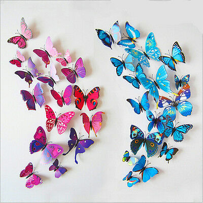 vivid 12pcs 3D Wall Sticker Butterfly design Home Decor Room Decoration Stickers