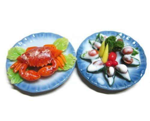 2 Set Seafood Dollhouse Miniatures Dinner Food Deco