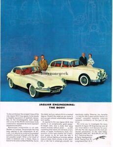 1962 Jaguar XK-E XKE, Mark II Sedan engineering the engine Vintage Ad