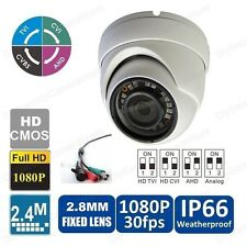 2.4MP 1080p Quad-Hybrid AHD/HD-TVI/CVI/960H Eyeball IR Dome Camera: White, 2.8mm
