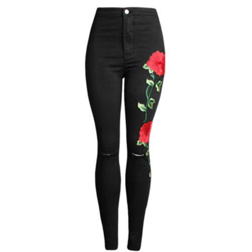 2017 Neu Damen Bekümmert Segeltuch Denim Jeans Ripped Dünn Bein Blumen Rose JO