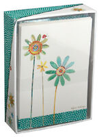 Green And Blue Flowers - Pictura Box Of 14 Blank Note Cards
