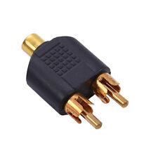 RCA Y Splitter Plug AV Audio Video Converter 2-Male to 1-Female Cable Adapter
