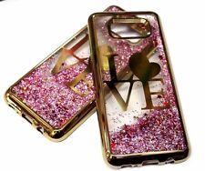 For Samsung Galaxy S8+ PLUS Gold Trim Love Heart Pink Glitter Liquid Water Case