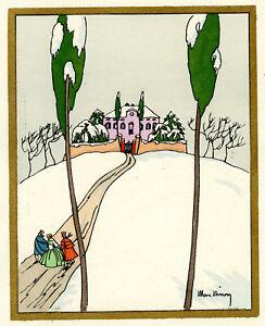 1930s-French-Pochoir-Max-Ninon-Print-Art-Deco-Winterscape-Old-City-Road-Mansion