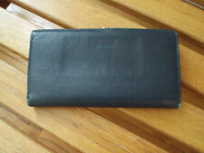 Osprey Of London Leather Wallet navy blue check book size nice pre-owned