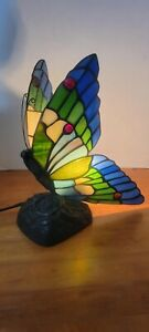 Stained Glass Butterfly Night Light Table Desk Lamp.