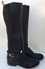 Michael Kors Arley Tall Black Riding Leather Boots Gold Logo Size 9M $295