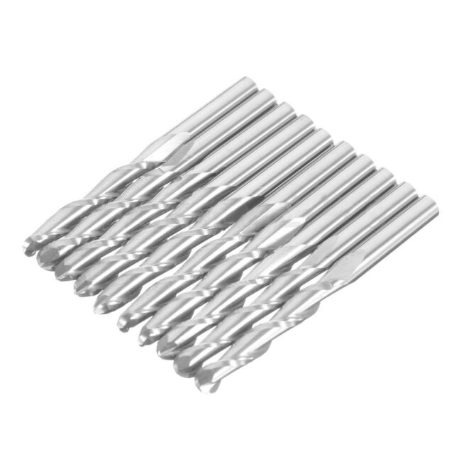 "10x 1//8/"" Carbide Double Flute Spiral ball Nose End Mill CNC Router Bits 17mm New"