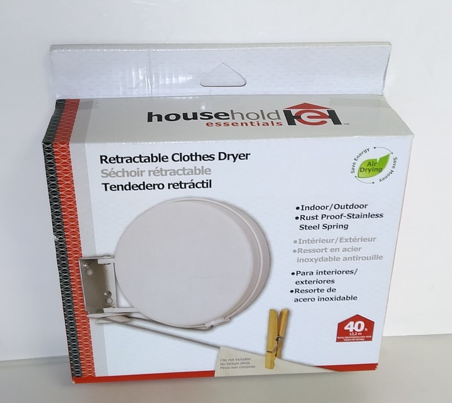 Household Essentials R450-1 Single 40 ft Retractable Clothesline Silver Reel