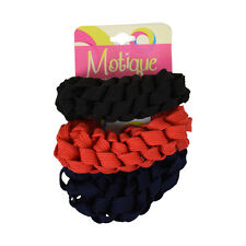 3 Braided Scrunchies Red, Navy & Black Cute Ponytail Girl's Hair Accessories