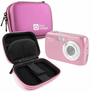 Durable-Hard-EVA-Pink-Case-For-Vivitar-S126-Compact-Digital-Camera-w-Belt-Clip